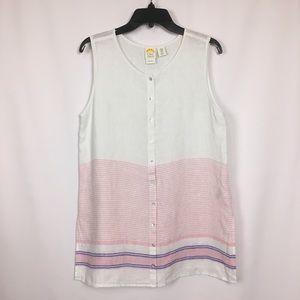 C&C California Linen Sleveless button front shirt